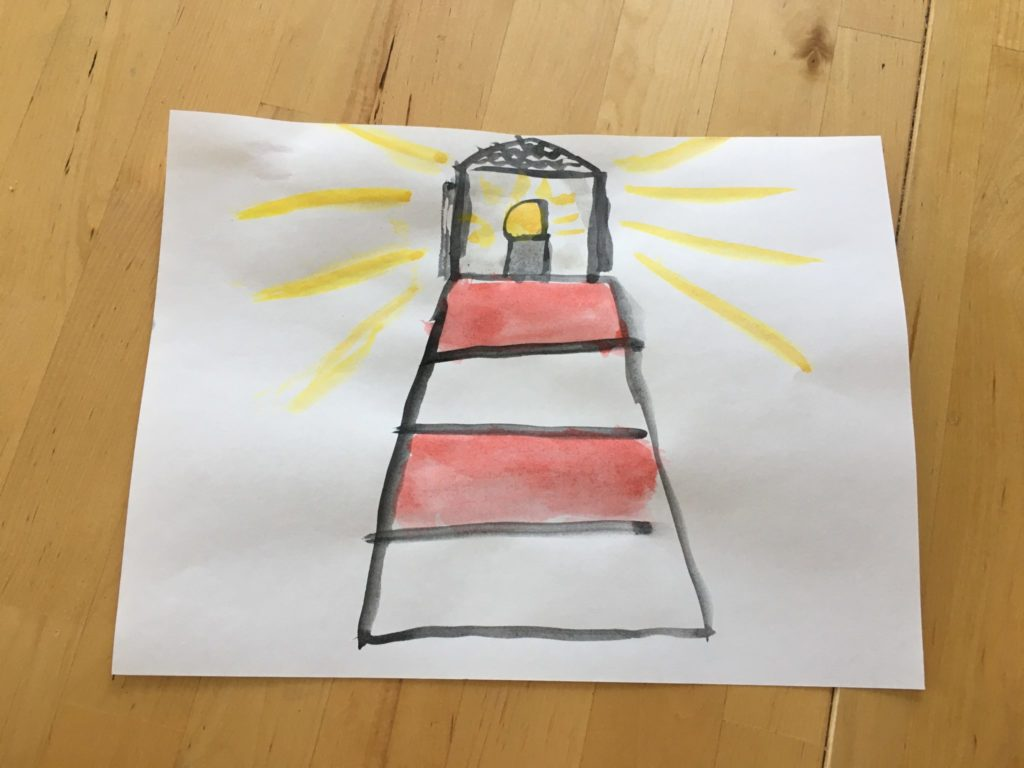 Watercolor painting of a lighthouse