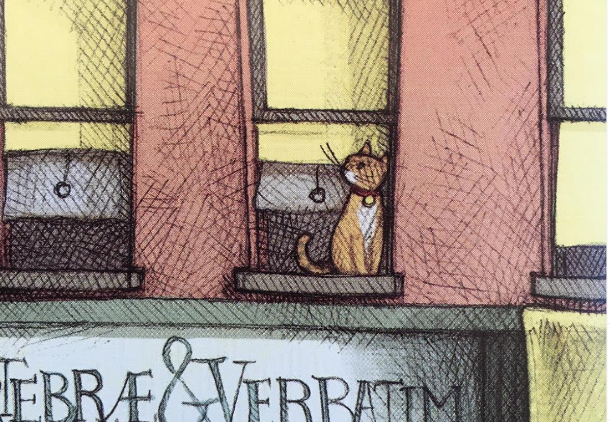 Cat in window illustration from BOLIVAR