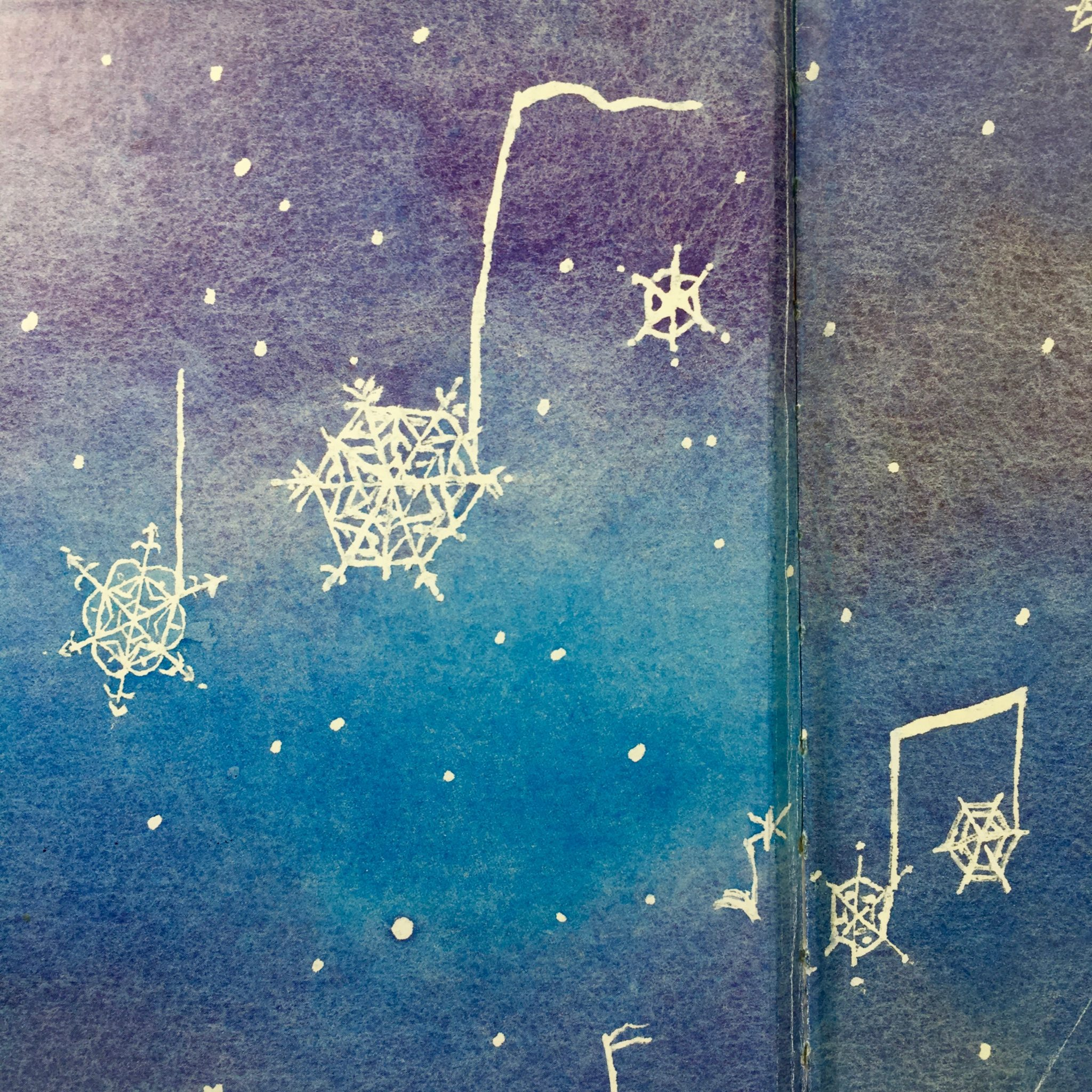 """Endpapers from """"Snow Music"""" by Lynne Rae Perkins"""